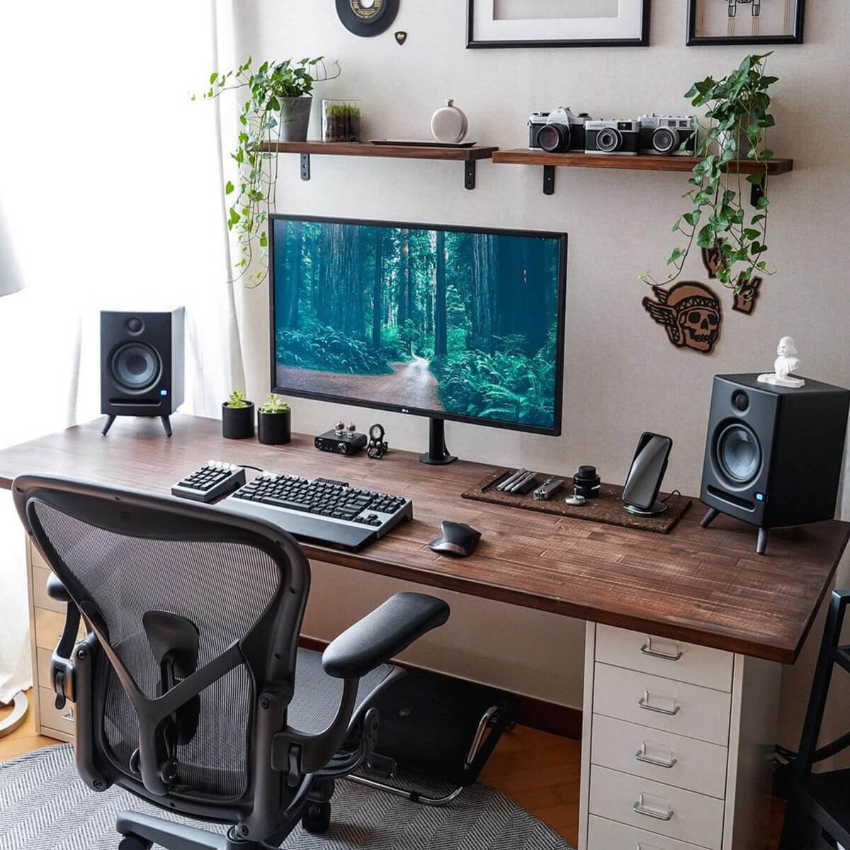 Wood Gaming Desk Setup