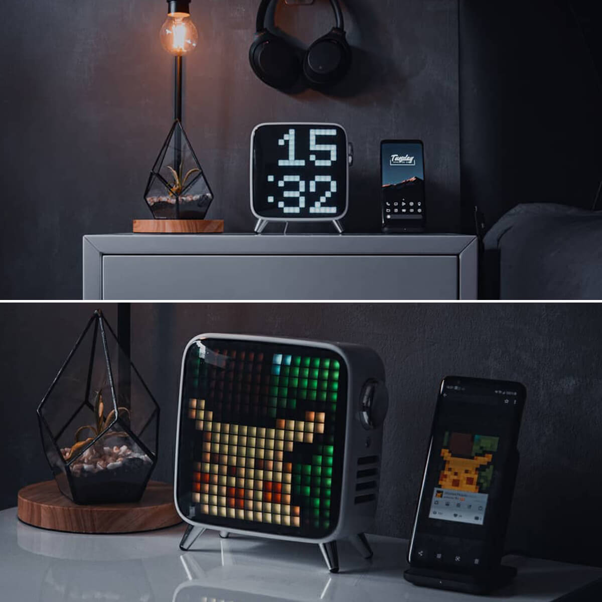 Pixel Art LED Tabletop Clock