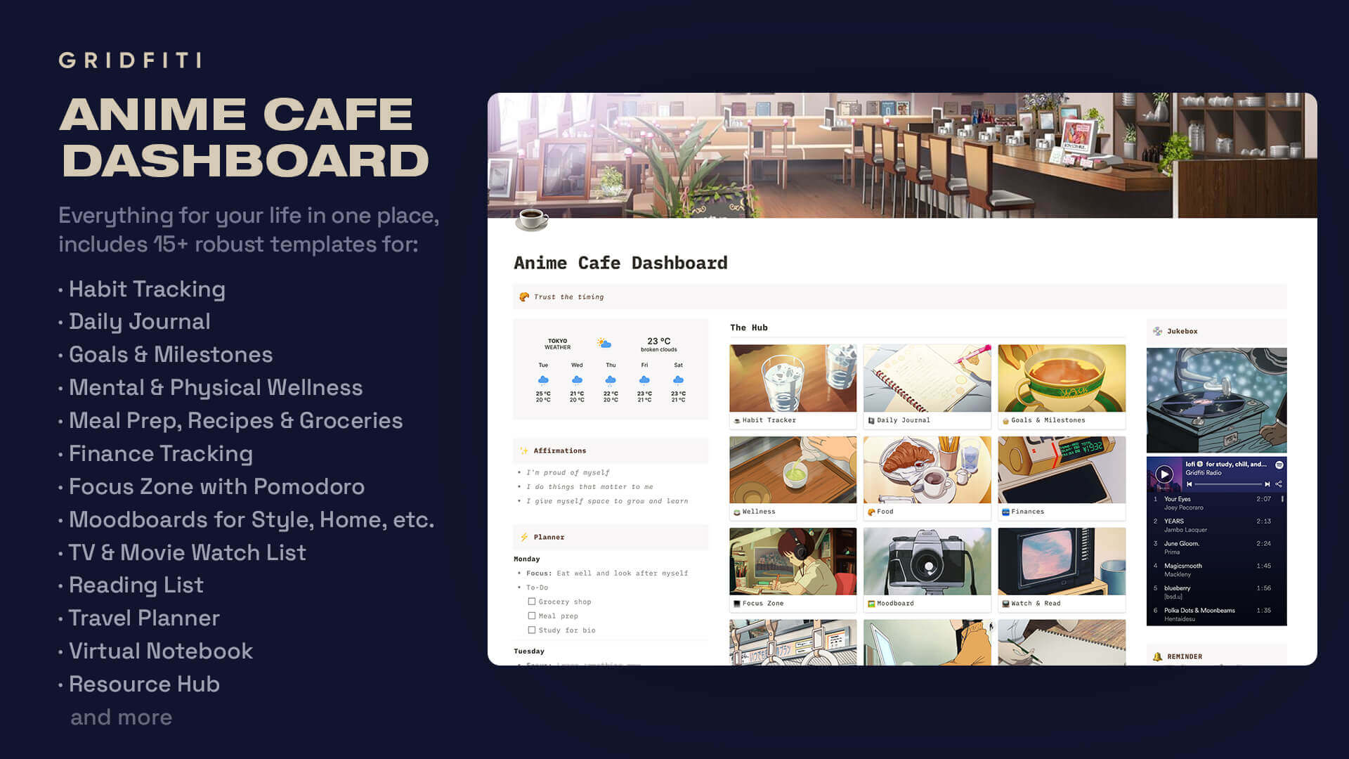 Anime Cafe Notion Dashboard