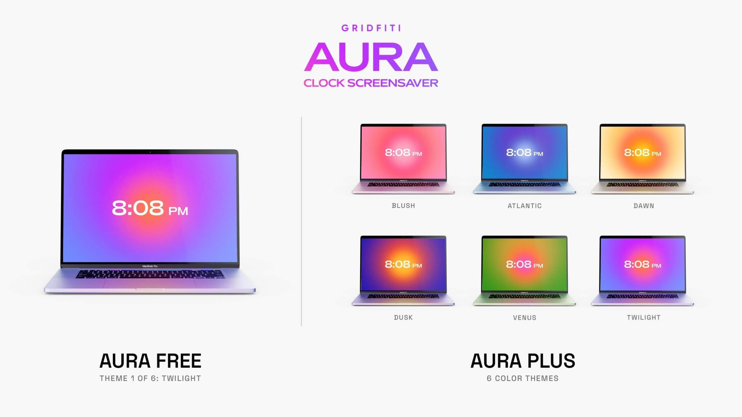 Aura Clock Screensaver