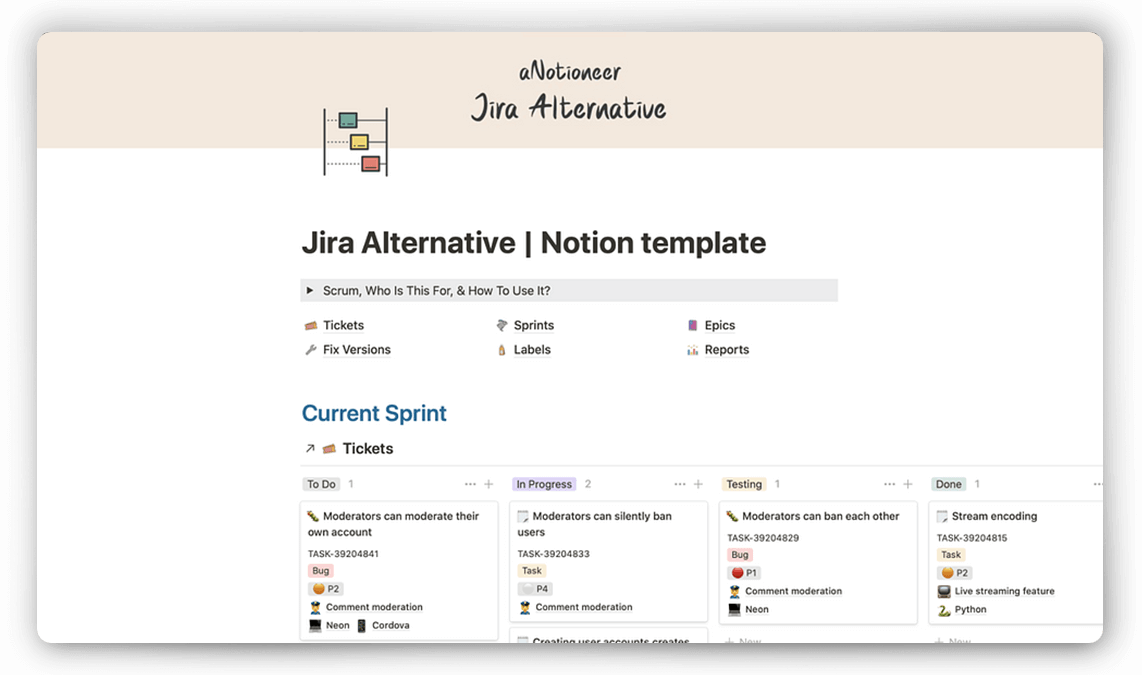 Jira Notion Template for Developers