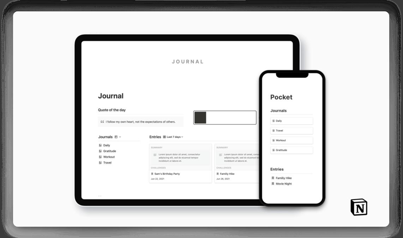 Minimal Notion Journal Template