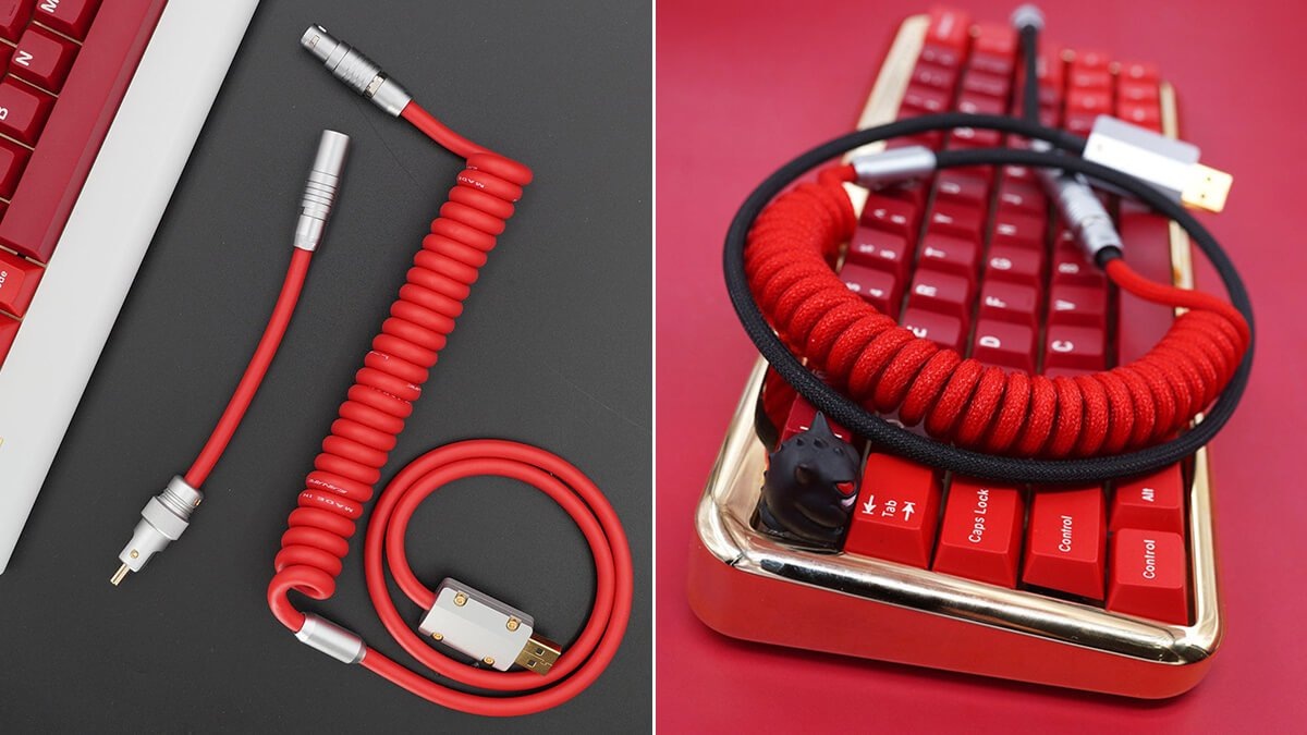 Red Braided Keyboard Cables