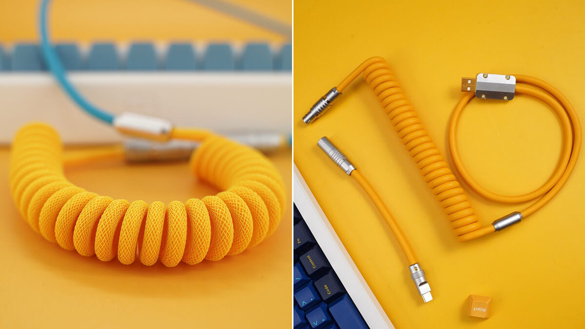Yellow Braided Keyboard Cables