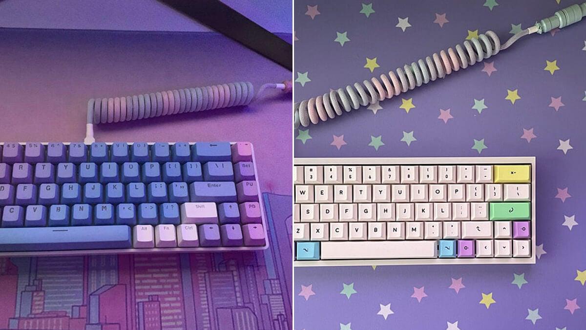 Vaporwave USB Keyboard Cables