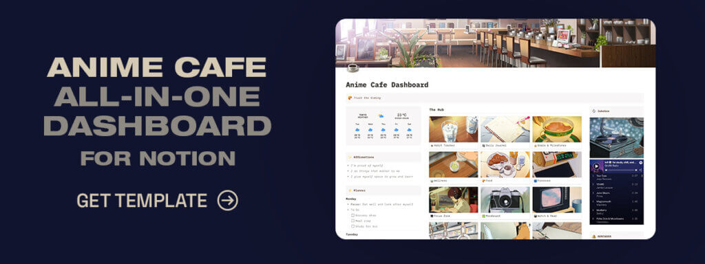 Aesthetic Anime Cafe Template for Notion