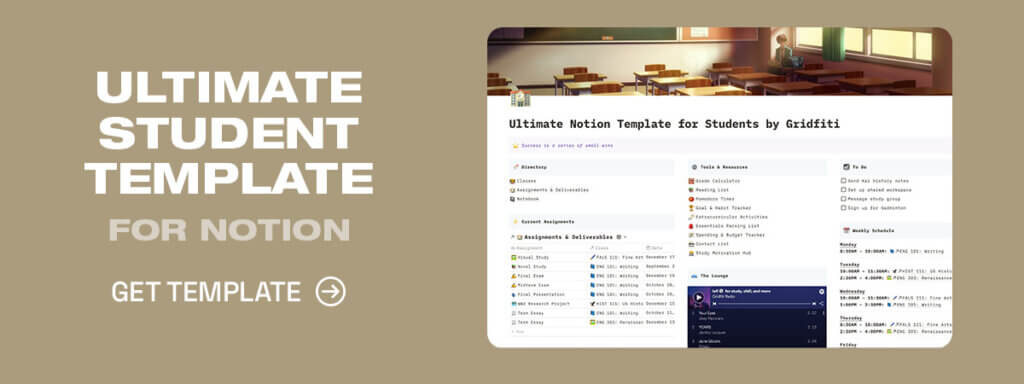 Aesthetic Student Template for Notion