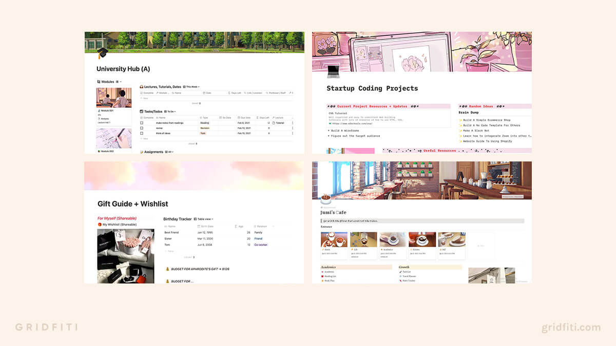 Cute Notion Layout Templates