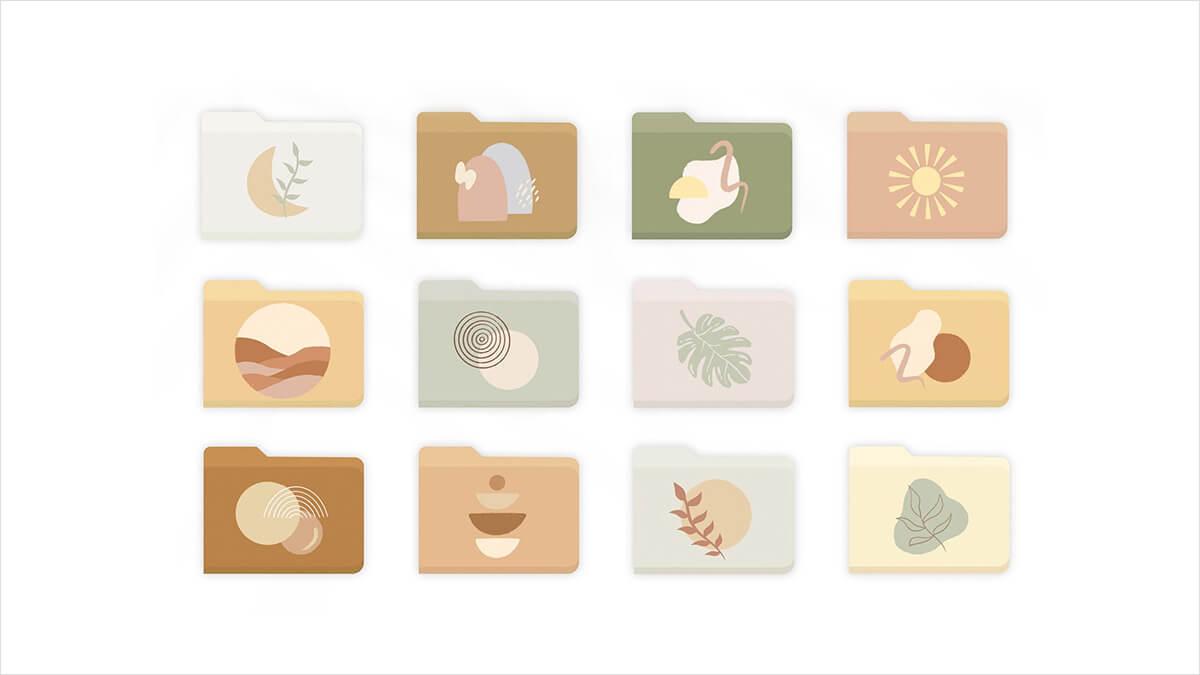 Boho Aesthetic Folder Icons