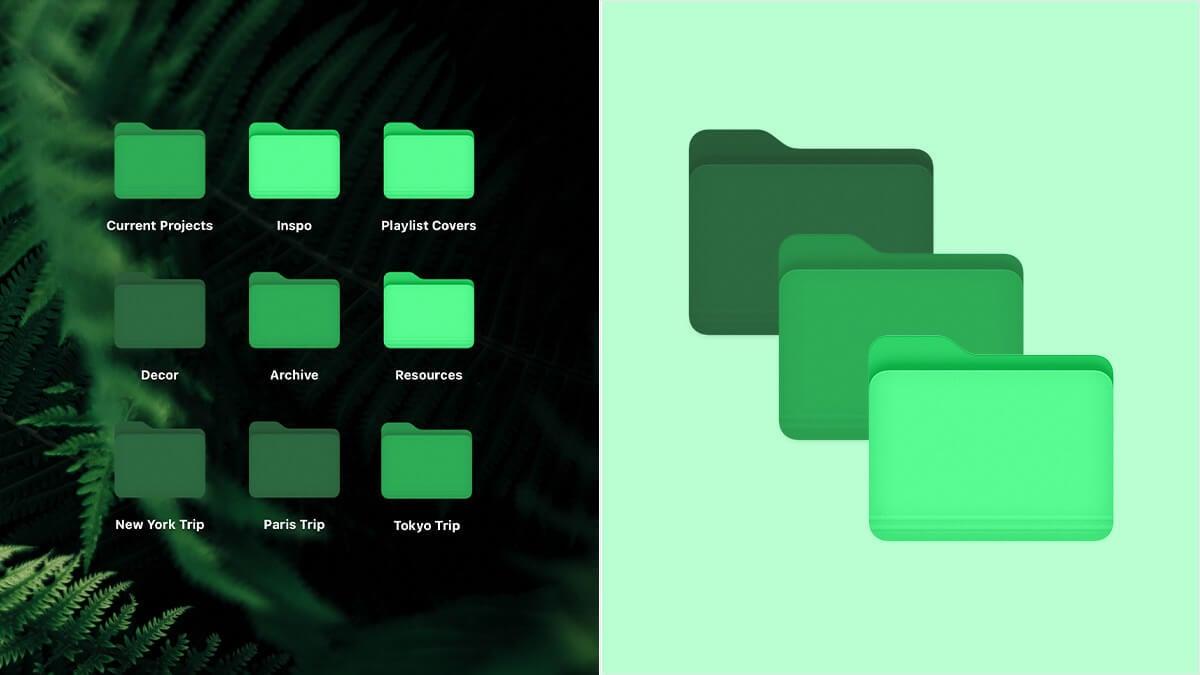Green Aesthetic Folder Icons
