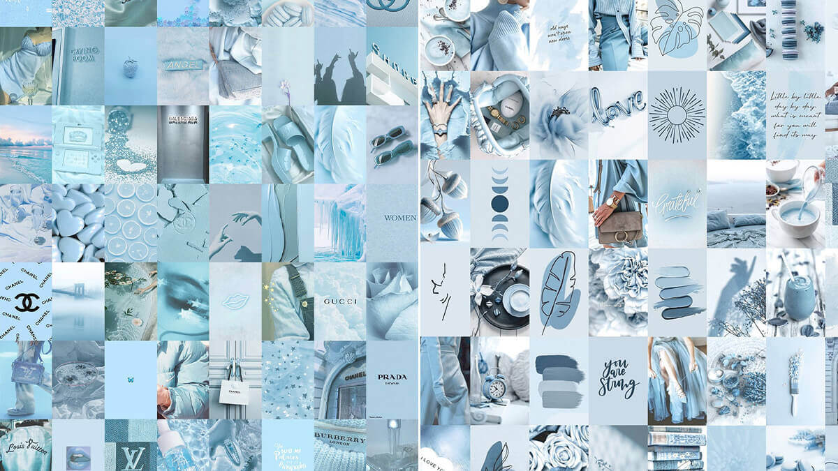 Blue Aesthetic Wall Collage Kit