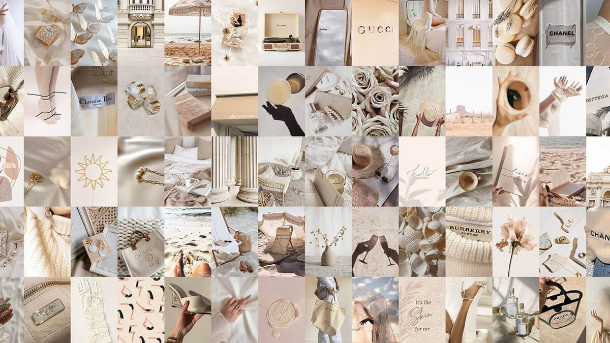 Neutral Wall Aesthetic Collage Kit