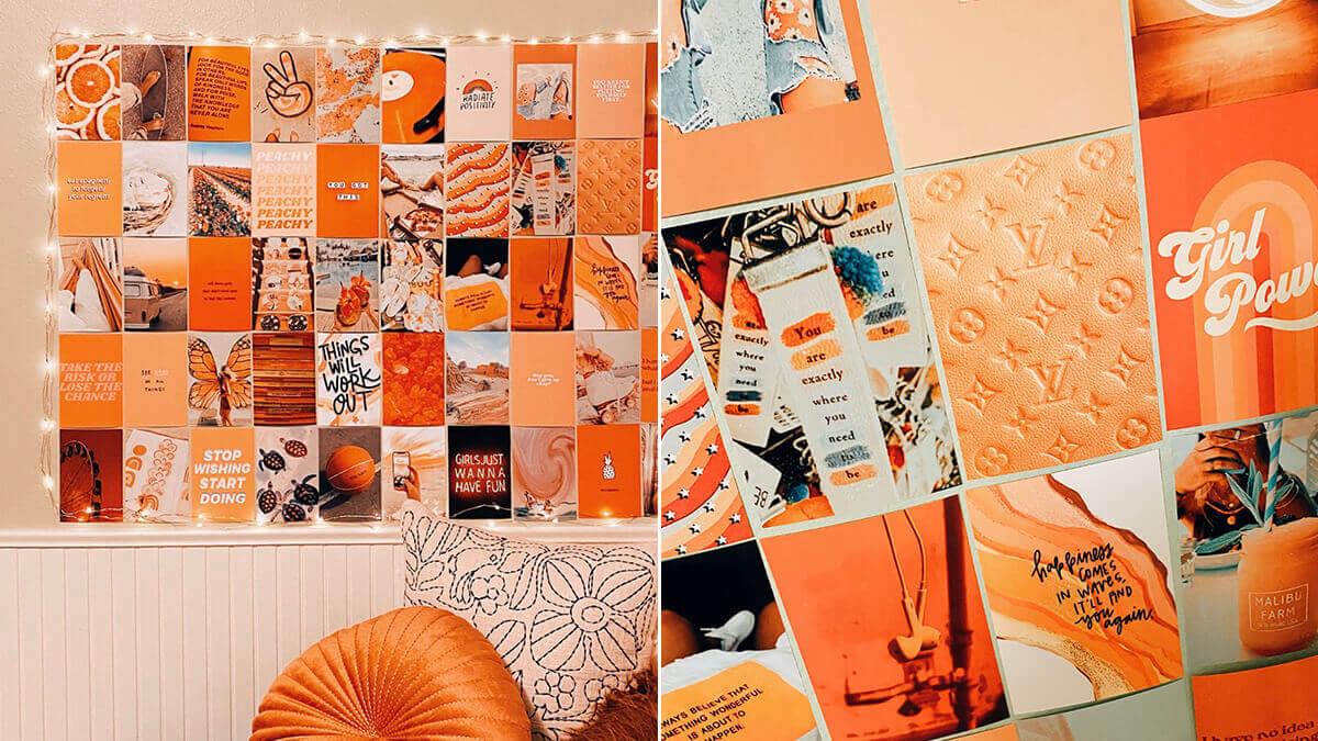 Orange Aesthetic Wall Collage Kit