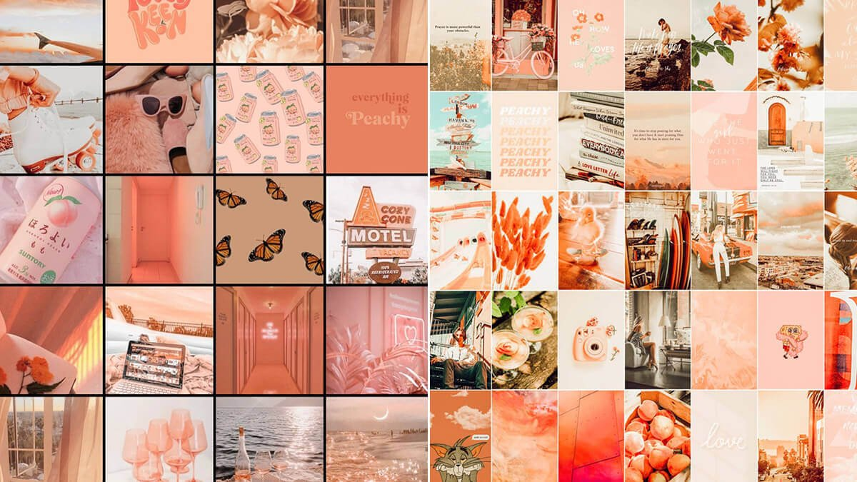 Peach Aesthetic Wall Art Collage