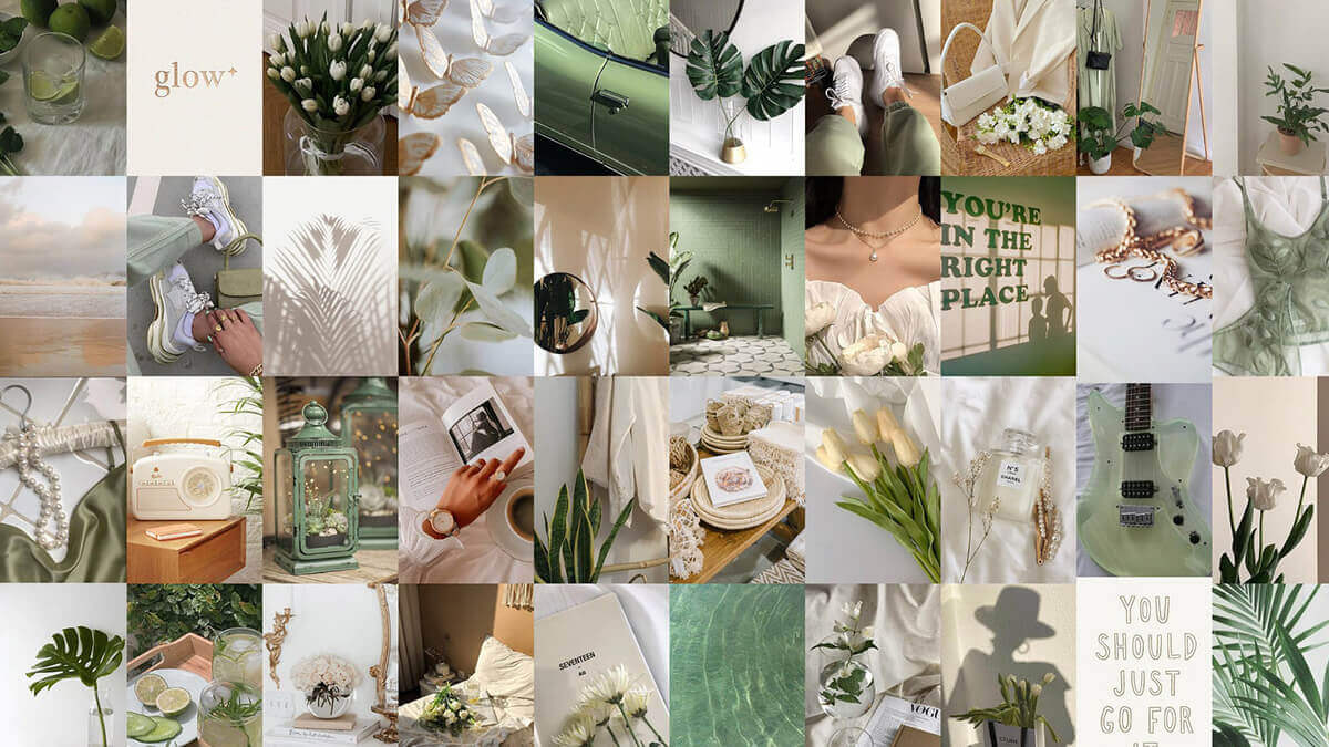 Sage Green Aesthetic Wall Collage Kit