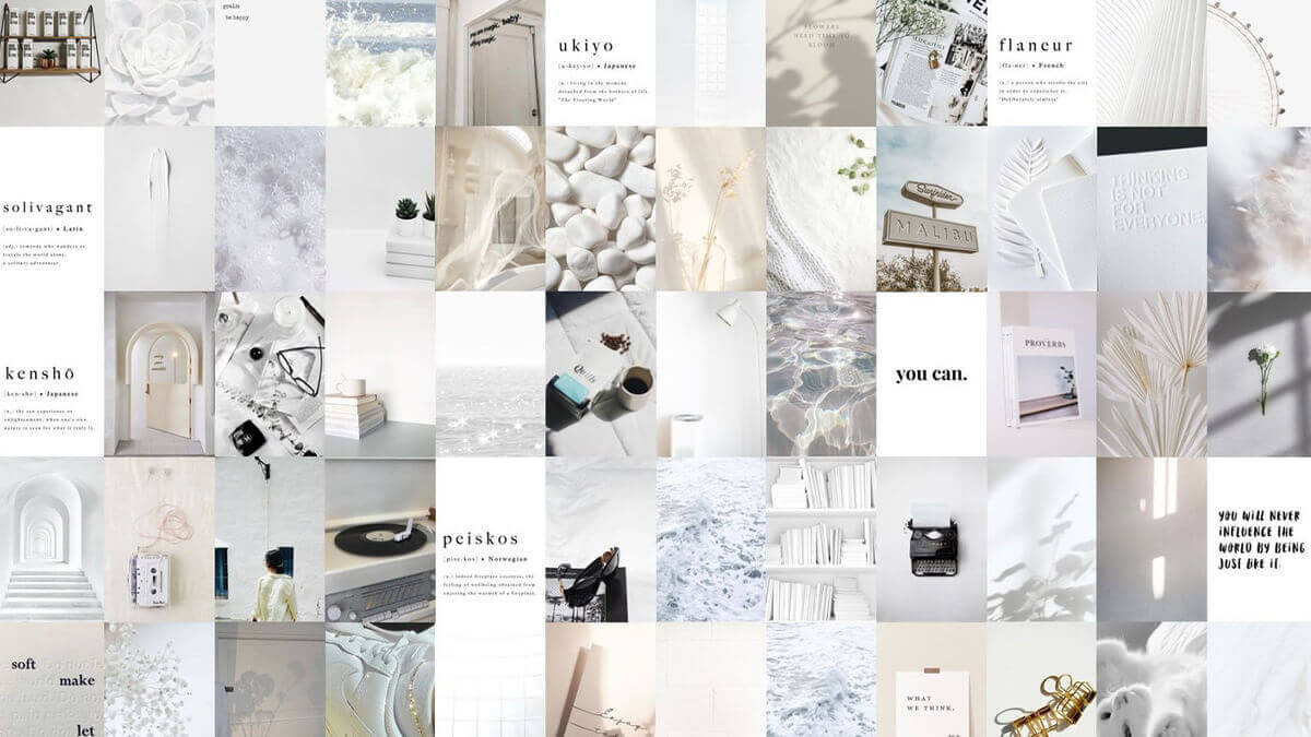 White Wall Aesthetic Collage Kit