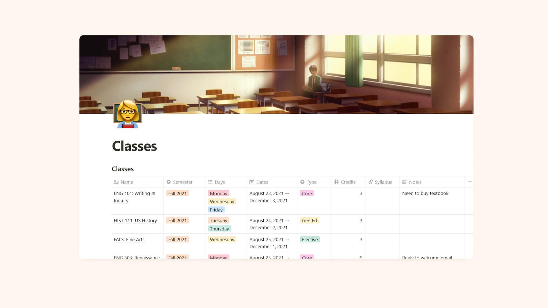 Notion Student Schedule & Syllabus Planning