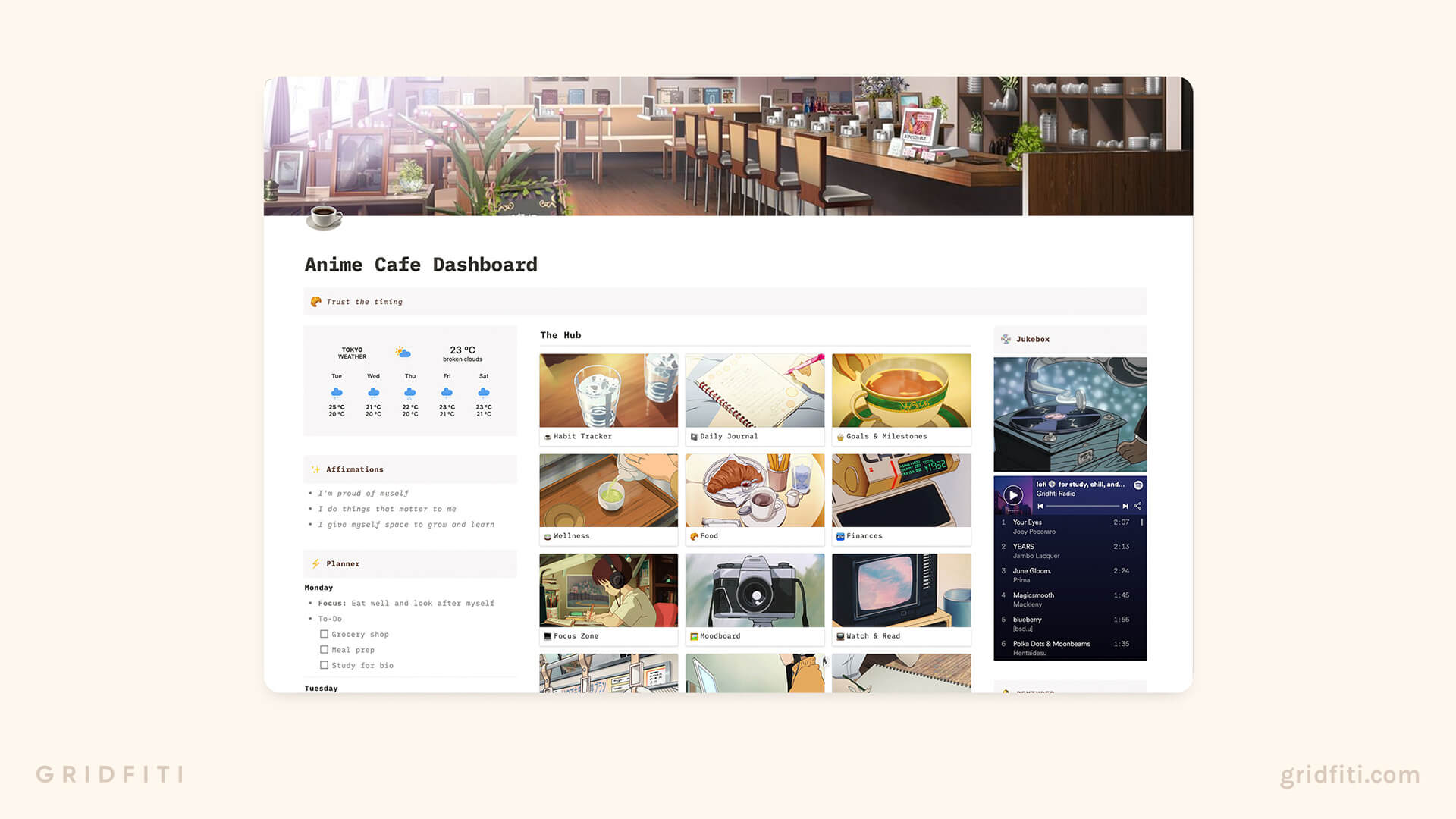 Aesthetic Anime Cafe Notion Template