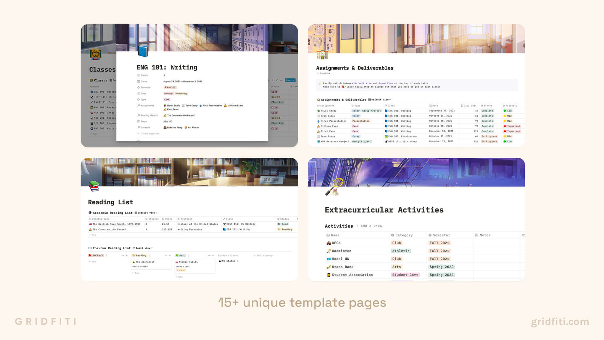 Aesthetic Notion Template for Students