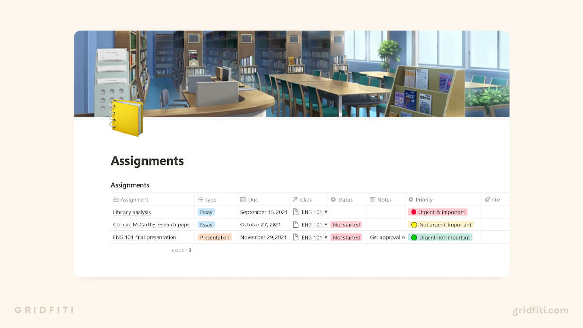 Notion Student Template Assignments