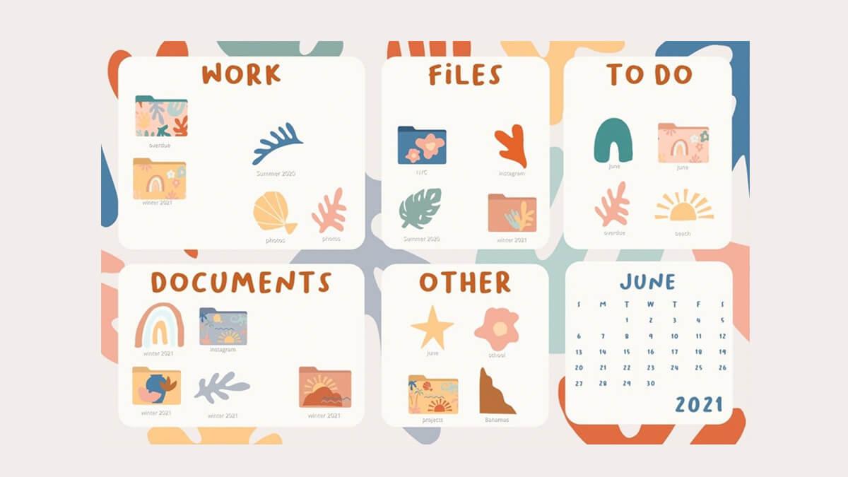 Boho Desktop Organizer Wallpaper