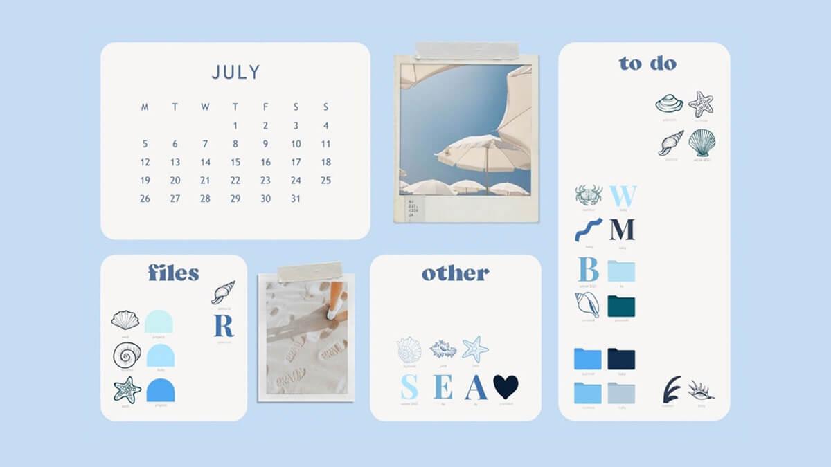 Blue Desktop Organizer Wallpaper