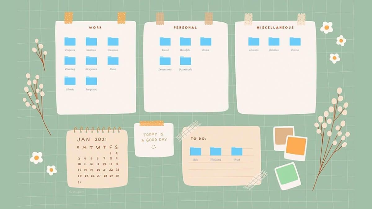 Green Desktop Organizer Wallpaper