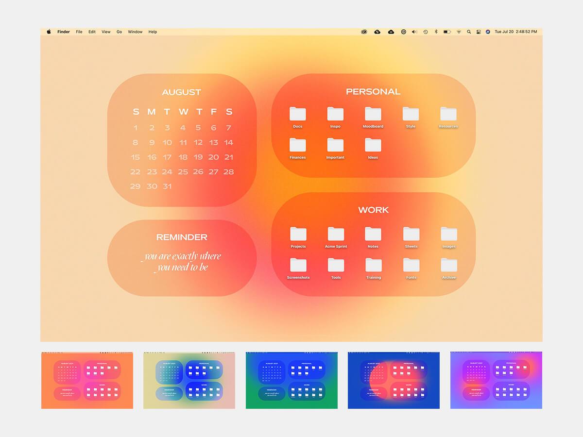Aesthetic Gradient Desktop Organizer Wallpaper