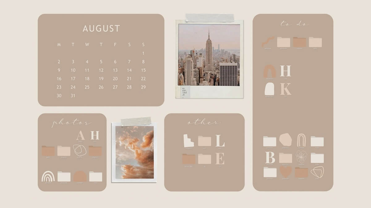 Beige Aesthetic Desktop Organizer Wallpaper