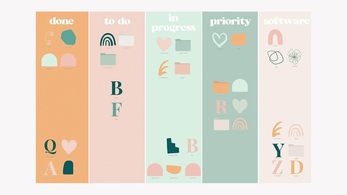Pastel Desktop Organizer Wallpaper