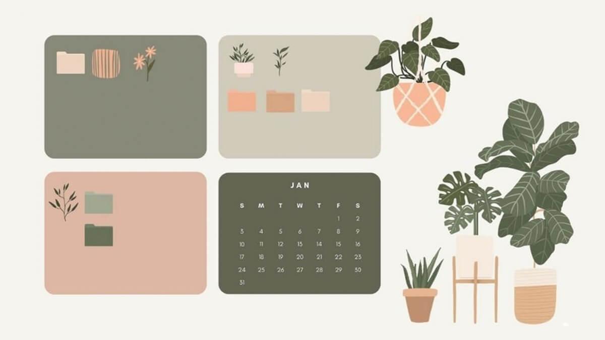 Plant Desktop Organizer Wallpaper