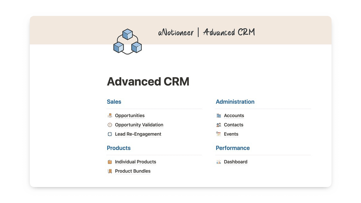 Notion CRM Template for Business