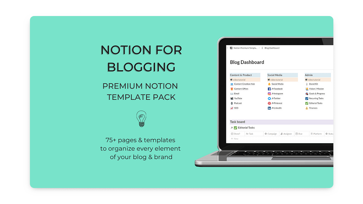 Notion for Blogging Dashboard Template