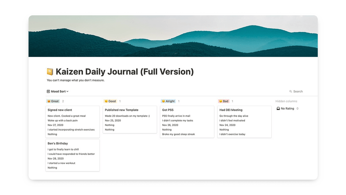 Notion Habit Journal Template