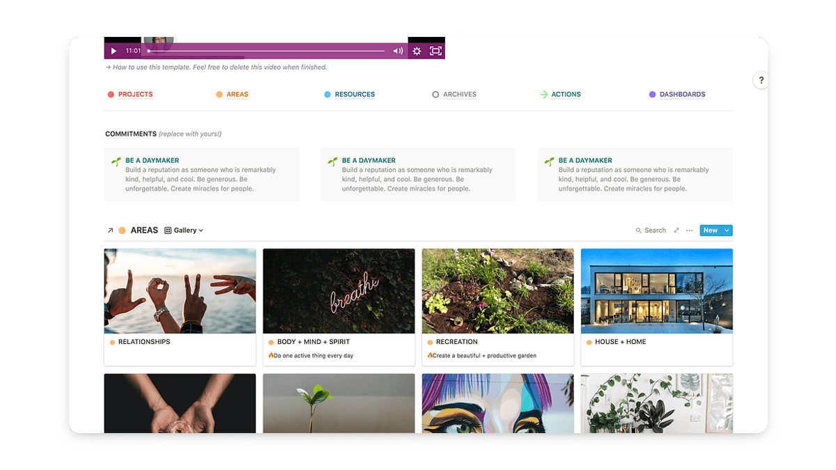 Notion Daily Journal Dashboard Template