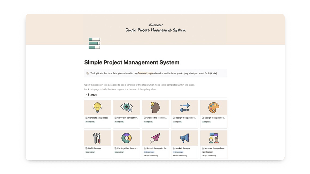 Simple Notion Project Management Template