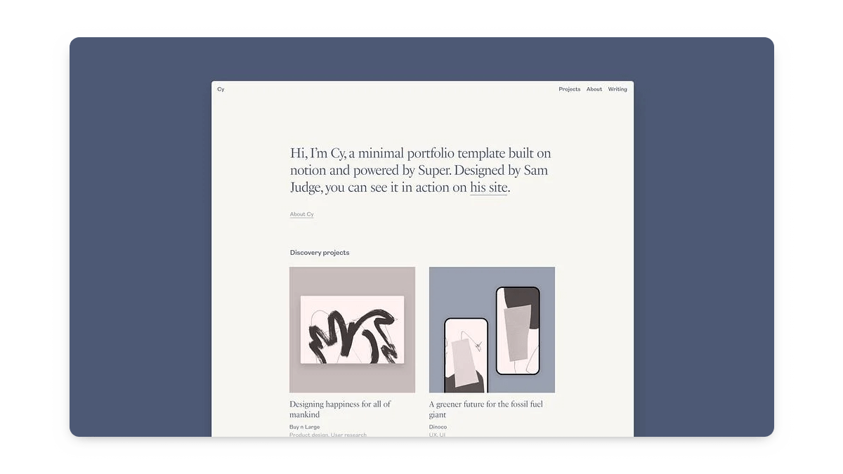 Aesthetic Notion Portfolio Website Template