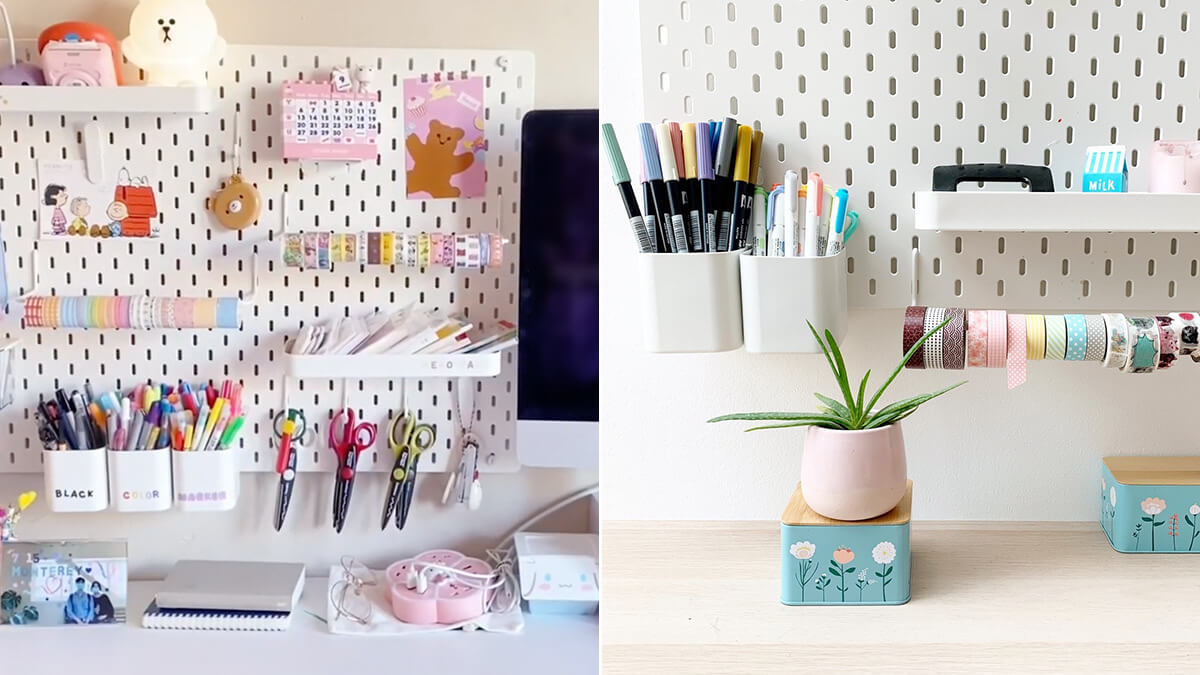 Aesthetic Pegboard Wall Desk Setup