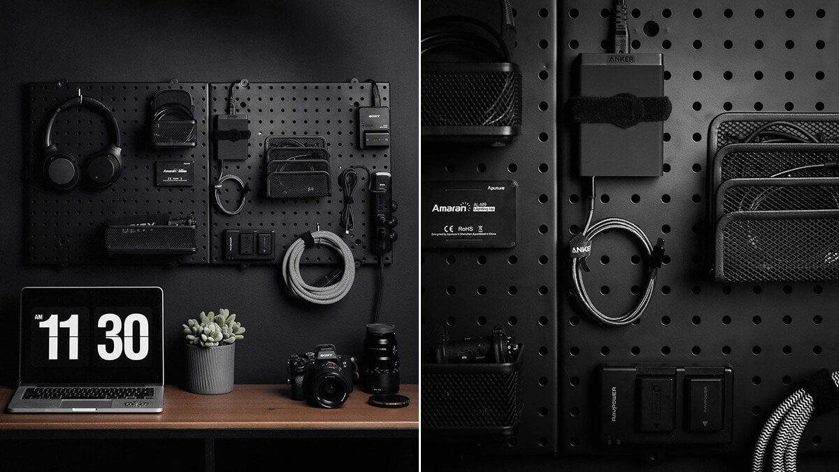 Tech Pegboard Charging Station