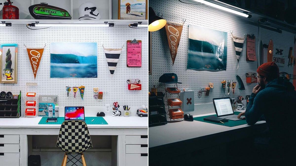 Pegboard Desk Wall Decor Idea