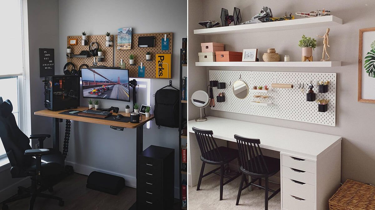 Double Pegboard Office Organizer