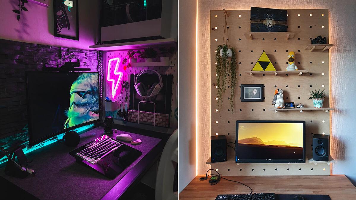 Pegboard Desk Lighting