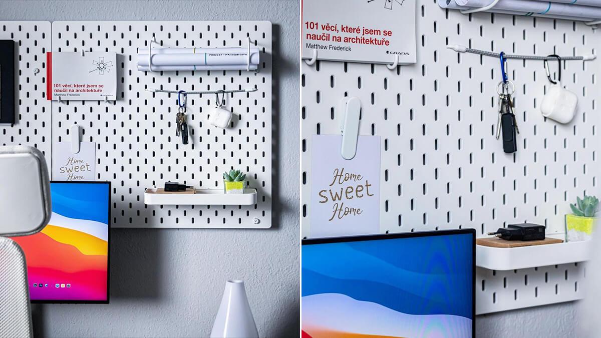 Minimal Pegboard Desk Wall