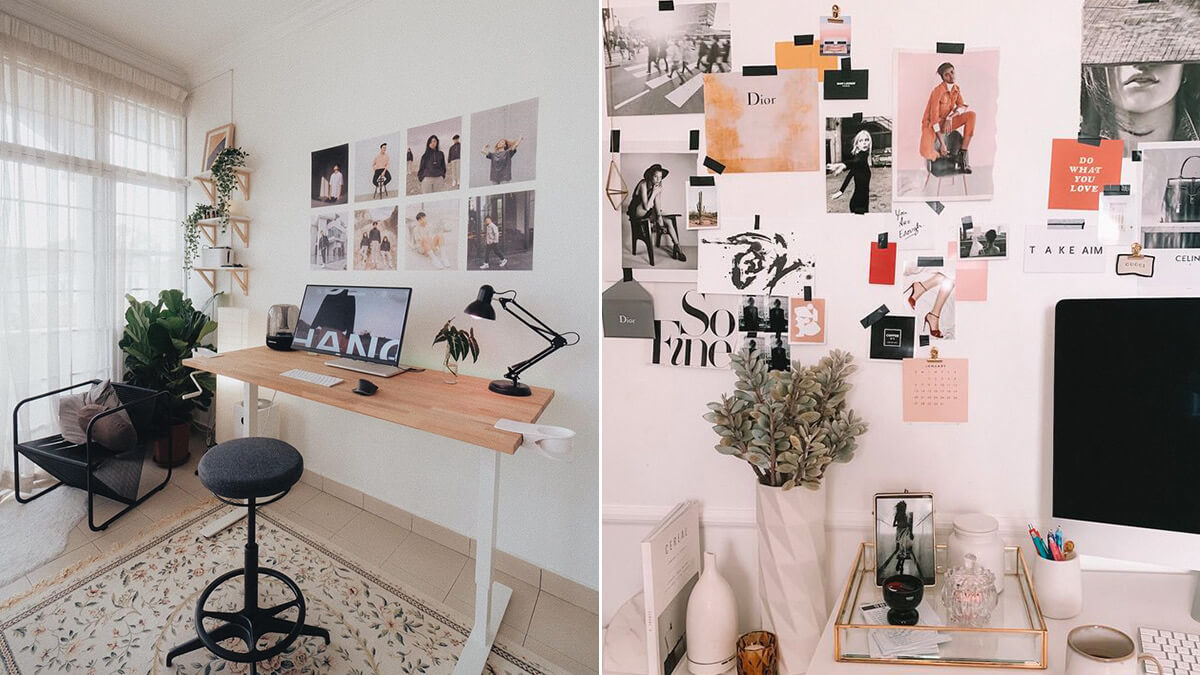 Aesthetic Home Office Wall Collage