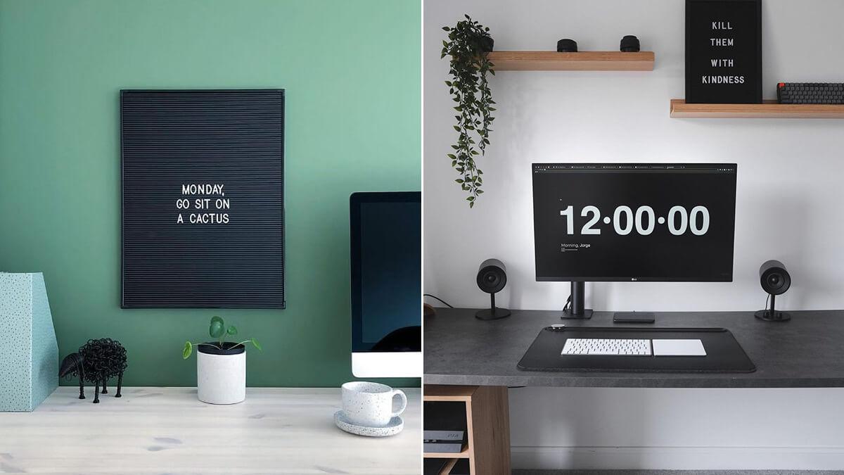 Black Letter Board Desk Setup