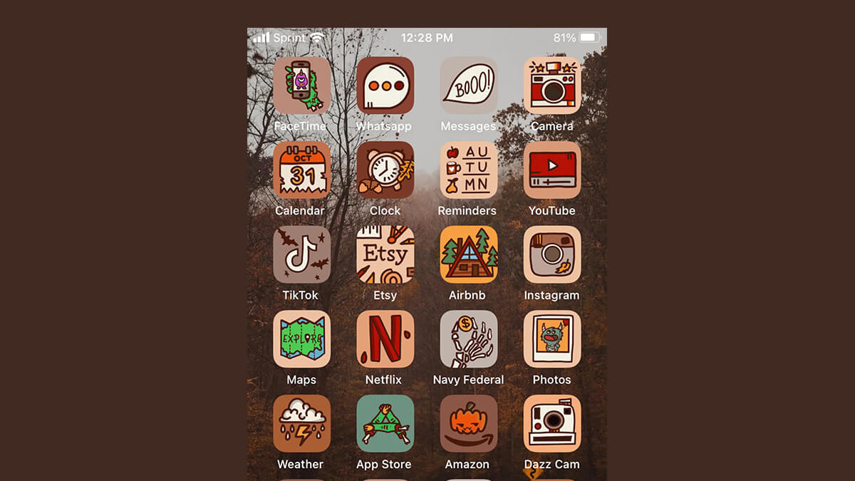 Hand-Drawn Spooky Fall Icon App Icons