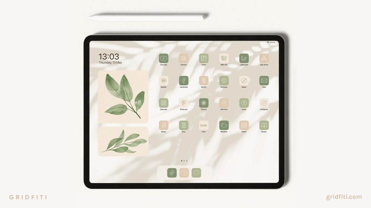 Natural & Earth Tones iPadOS Home Screen