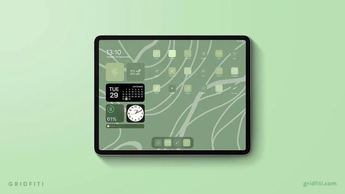 Aesthetic Sage Green iPad Home Screen