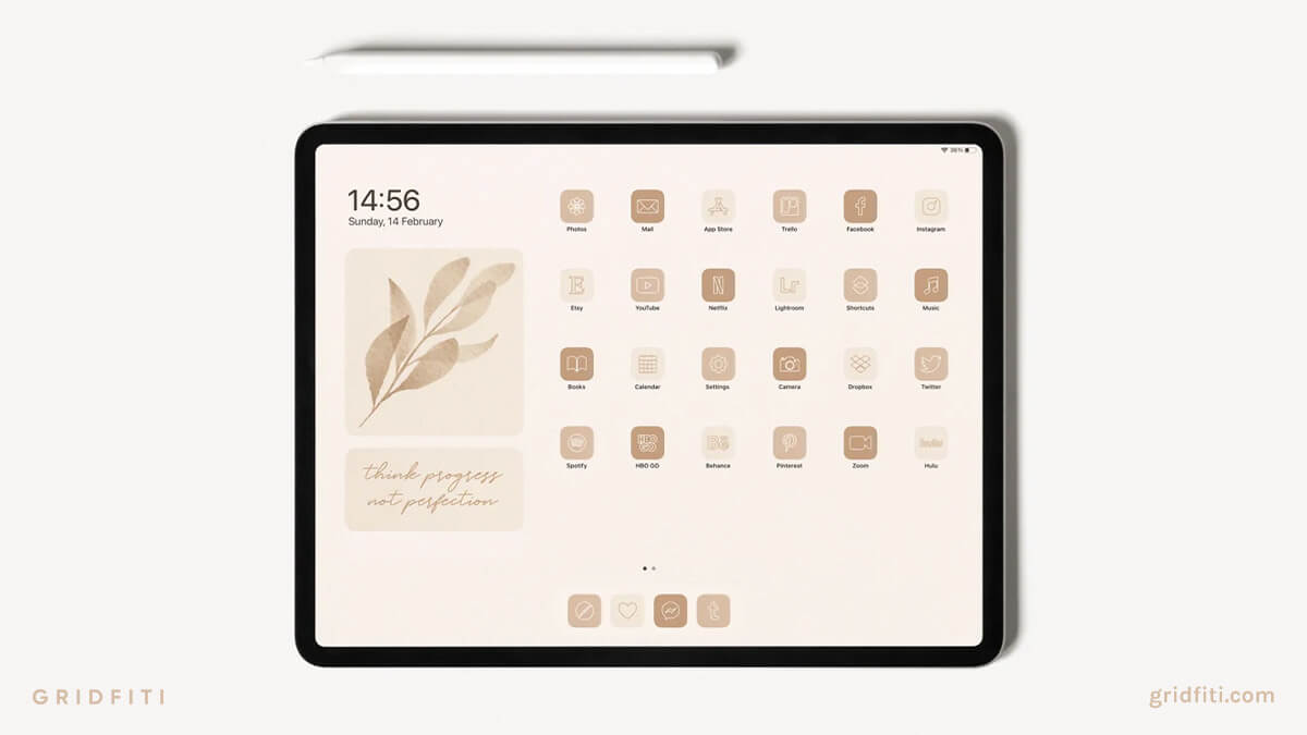 Latte Brown Neutral Aesthetic Home Screen